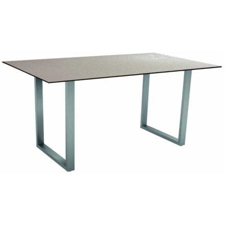 Stern Kufentisch, Gestell Edelstahl, Tischplatte HPL Uni grau, Tischgröße: 160x90 cm
