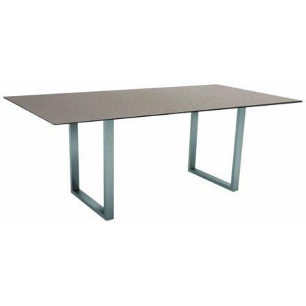 Stern Kufentisch, Gestell Edelstahl, Tischplatte HPL Uni grau, Tischgröße: 200x100 cm