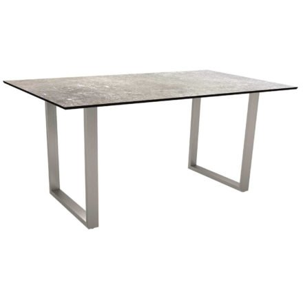 Stern Kufentisch, Gestell Edelstahl, Tischplatte HPL Vintage stone, Tischgröße: 160x90 cm