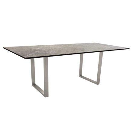 Stern Kufentisch, Gestell Edelstahl, Tischplatte HPL Vintage stone, Tischgröße: 200x100 cm