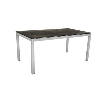 Stern Tischsystem, Gestell Edelstahl Vierkantrohr, Tischplatte HPL Dark Marble, 160x90 cm