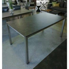 Stern Gartentisch Sondermodell, Gestell Edelstahl Vierkant, Tischplatte HPL Beton dunkel, 160x90 cm