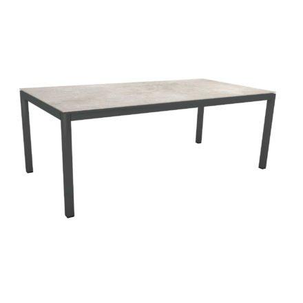 Stern Tischsystem, Gestell Aluminium anthrazit, Tischplatte Dekton Lava hellgrau, 200x100 cm