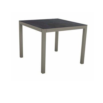 Stern Tischsystem, Gestell Aluminium graphit, Tischplatte Dekton Lava anthrazit, 90x90 cm