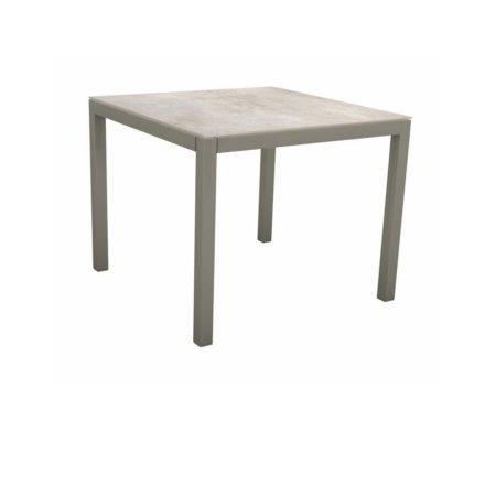 Stern Tischsystem, Gestell Aluminium graphit, Tischplatte Dekton Lava hellgrau, 90x90 cm