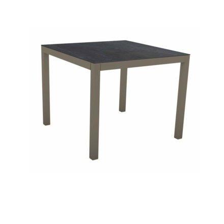 Stern Tischsystem, Gestell Aluminium taupe, Tischplatte Dekton Lava anthrazit, 90x90 cm