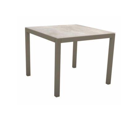 Stern Tischsystem, Gestell Aluminium taupe, Tischplatte Dekton Lava hellgrau, 90x90 cm
