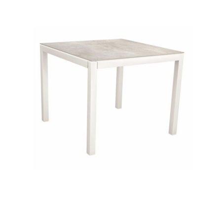 Stern Tischsystem, Gestell Aluminium weiß, Tischplatte Dekton Lava hellgrau, 90x90 cm