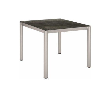 Stern Tischsystem, Gestell Edelstahl Rundrohr, Tischplatte HPL Dark Marble, 90x90 cm