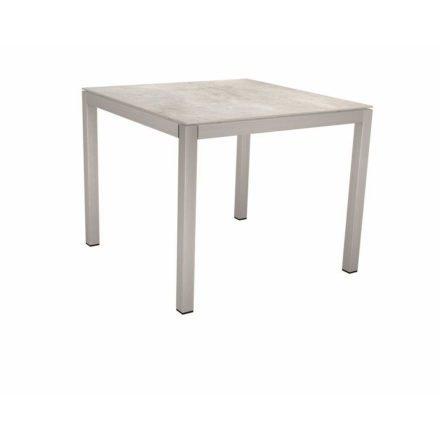 Stern Tischsystem, Gestell Edelstahl Vierkantrohr, Tischplatte Dekton Lava hellgrau, 90x90 cm