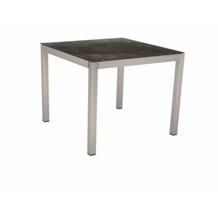 Stern Tischsystem, Gestell Edelstahl Vierkantrohr, Tischplatte HPL Dark Marble, 90x90 cm