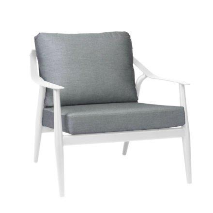 "Loungesessel ""Vanda"" der Marke Stern, Gestell Aluminium weiß, Kissen seidengrau 100% Polyacryl"