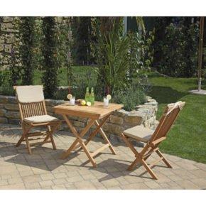 """SunnySmart Gartenmöbel-Set """"Bristol"""", Teakholz, Klappstühle inkl. Kissen, Farbe natur, Klapptisch 70x70 cm"""
