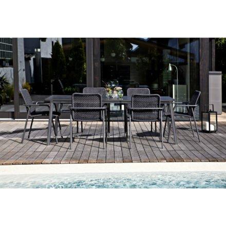 """Jati&Kebon Stapelsessel und Tisch """"Durham"""", Gestelle Aluminium eisengrau, Bespannung Rope schwarz, Tischplatte HPL"""