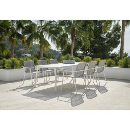 """Jati&Kebon Stapelsessel und Tisch """"Durham"""", Gestell Aluminium weiß, Bespannung Rope light grey melange"""