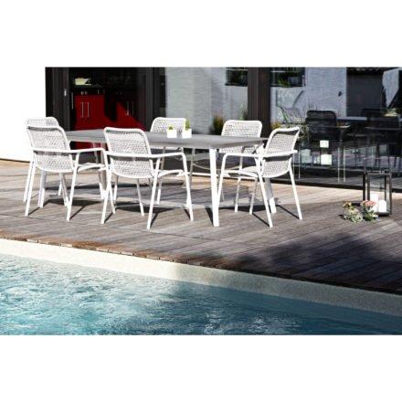 """Jati&Kebon Stapelsessel und Tisch """"Durham"""", Gestelle Aluminium weiß, Bespannung Rope light grey melange, Tischplatte HPL"""