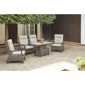 "Siena Garden Loungeset ""Corido"" 5-tlg., Aluminium matt-anthrazit, Gardino®–Geflecht aus Polyrattan, Farbe charcoal grey"