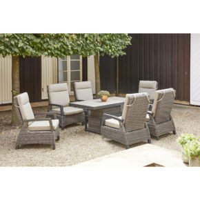 "Siena Garden Loungeset ""Corido"" 7-tlg., Aluminium anthrazit matt, Geflecht Polyrattan charcoal grey"