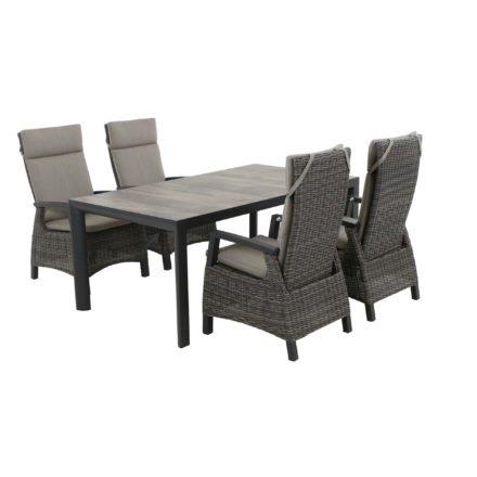 """Siena Garden Gartenmöbel-Set mit Dining-Sessel """"Corido"""" und Gartentisch """"Silva"""" 180x100 cm, Aluminium matt-anthrazit"""