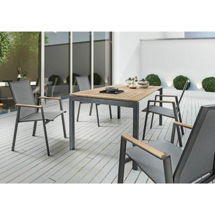 "SIT Mobilia Gartentisch ""Etna"", Alu eisengrau, Tischplatte Teak rahmenverleimt, Stuhl ""Merlo"", Alu eisengrau, Textilgewebe silber, Armlehnen Teak"