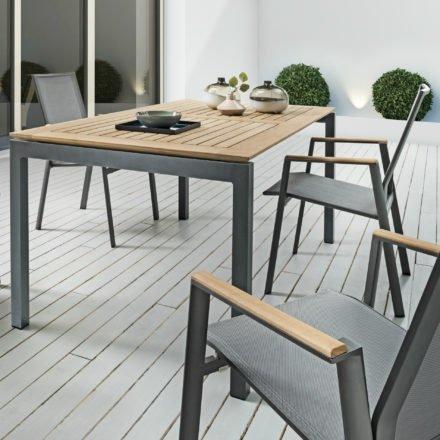 """SIT Mobilia Gartentisch """"Etna"""", Gestell Alu eisengrau, Tischplatte Teak rahmenverleimt, Stuhl """"Merlo"""", Gestell Alu eisengrau, Textilgewebe silber, Armlehnen Teak"""