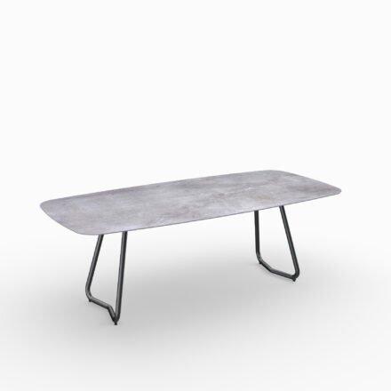 """SIT Mobilia Gartentisch """"Jura-Delemont"""" oval, Gestell Stahl eisengrau lackiert, Tischplatte Dekton Soke, 220x100 cm"""
