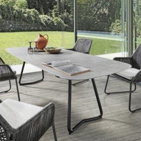 """SIT Mobilia Gartentisch """"Jura-Delemont"""" oval, Gestell Stahl schwarz lackiert, Tischplatte Dekton Kreta, 220x100 cm"""
