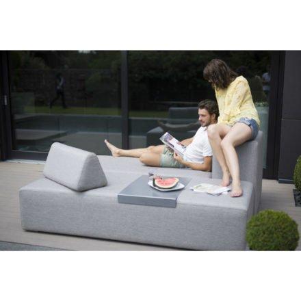 "Stern 2-Sitzer Loungemodul ""Domino"", Untergestell Aluminium, Bezug Outdoorstoff grau"
