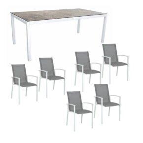"""Stern Gartenmöbel-Set """"Evoee"""", Gestelle Aluminium weiß, Tischplatte HPL Vintage Stone, Sitz- und Rückenfläche Textilgewebe silberfarben"""