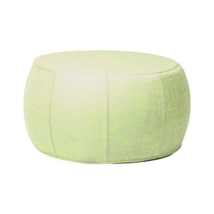"Stern ""Pouf"", Sitzhocker aus Outdoorstoff farngrün/seidengrau meliert, Ø 70/79 cm"