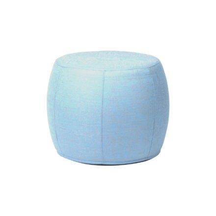 "Stern ""Pouf"", Sitzhocker aus Outdoorstoff hellblau/seidengrau meliert, Ø 50/59 cm"