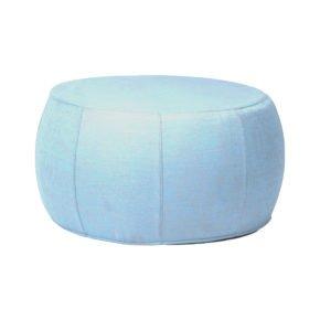 "Stern ""Pouf"", Sitzhocker aus Outdoorstoff hellblau/seidengrau meliert, Ø 70/79 cm"