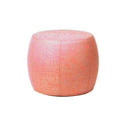 """Stern """"Pouf"""", Sitzhocker aus Outdoorstoff koralle/seidengrau meliert, Ø 50/59 cm"""