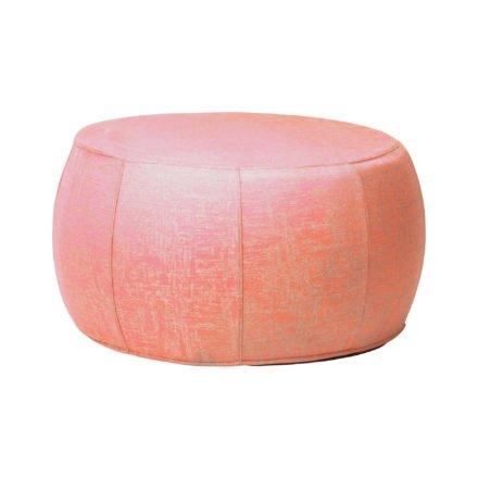 """Stern """"Pouf"""", Sitzhocker aus Outdoorstoff koralle/seidengrau meliert, Ø 70/79 cm"""