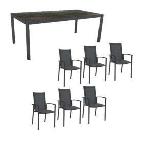 """Stern Gartenmöbel-Set """"Evoee"""", Gestelle Aluminium anthrazit, Tischplatte HPL Dark Marble, Sitz- und Rückenfläche Textilgewebe karbonfarben, Armlehnen anthrazit"""