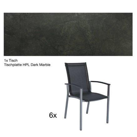 """Stern Gartenmöbel-Set """"Evoee"""", Gestelle Aluminium graphit, Tischplatte HPL Dark Marble, Sitz- und Rückenfläche Textilgewebe silbergrau, Armlehnen anthrazit"""