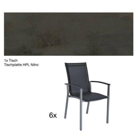 """Stern Gartenmöbel-Set """"Evoee"""", Gestelle Aluminium graphit, Tischplatte HPL Nitro, Sitz- und Rückenfläche Textilgewebe silbergrau, Armlehnen anthrazit"""