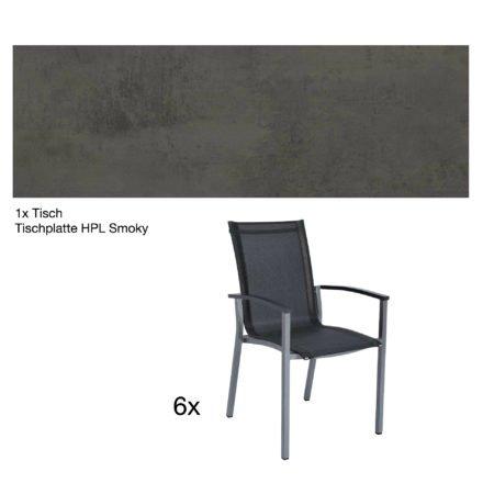 """Stern Gartenmöbel-Set """"Evoee"""", Gestelle Aluminium graphit, Tischplatte HPL Smoky, Sitz- und Rückenfläche Textilgewebe silbergrau, Armlehnen anthrazit"""