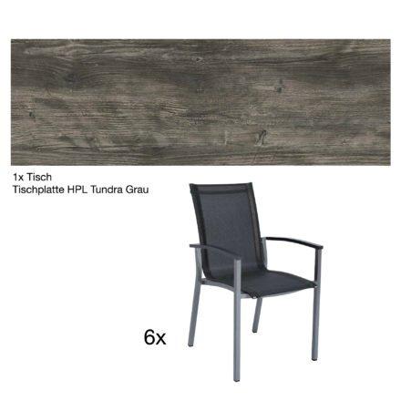 """Stern Gartenmöbel-Set """"Evoee"""", Gestelle Aluminium graphit, Tischplatte HPL Tundra Grau, Sitz- und Rückenfläche Textilgewebe silbergrau, Armlehnen anthrazit"""