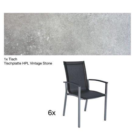 """Stern Gartenmöbel-Set """"Evoee"""", Gestelle Aluminium graphit, Tischplatte HPL Vintage Stone, Sitz- und Rückenfläche Textilgewebe silbergrau, Armlehnen anthrazit"""