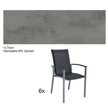 """Stern Gartenmöbel-Set """"Evoee"""", Gestelle Aluminium graphit, Tischplatte HPL Zement, Sitz- und Rückenfläche Textilgewebe silbergrau, Armlehnen anthrazit"""