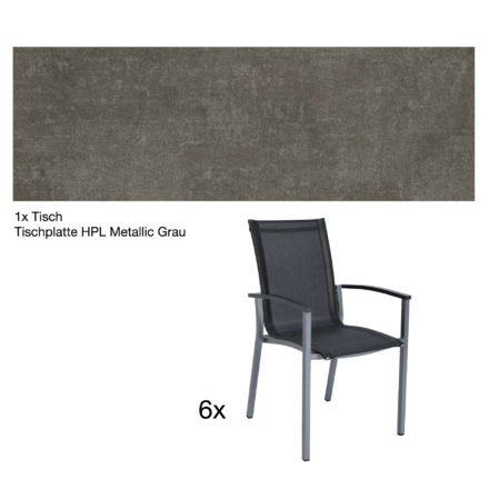 """Stern Gartenmöbel-Set """"Evoee"""", Gestelle Aluminium graphit, Tischplatte HPL Metallic Grau, Sitz- und Rückenfläche Textilgewebe silbergrau, Armlehnen anthrazit"""