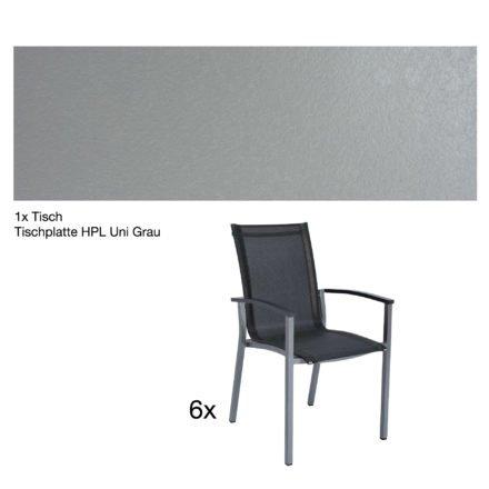 """Stern Gartenmöbel-Set """"Evoee"""", Gestelle Aluminium graphit, Tischplatte HPL Uni Grau, Sitz- und Rückenfläche Textilgewebe silbergrau, Armlehnen anthrazit"""