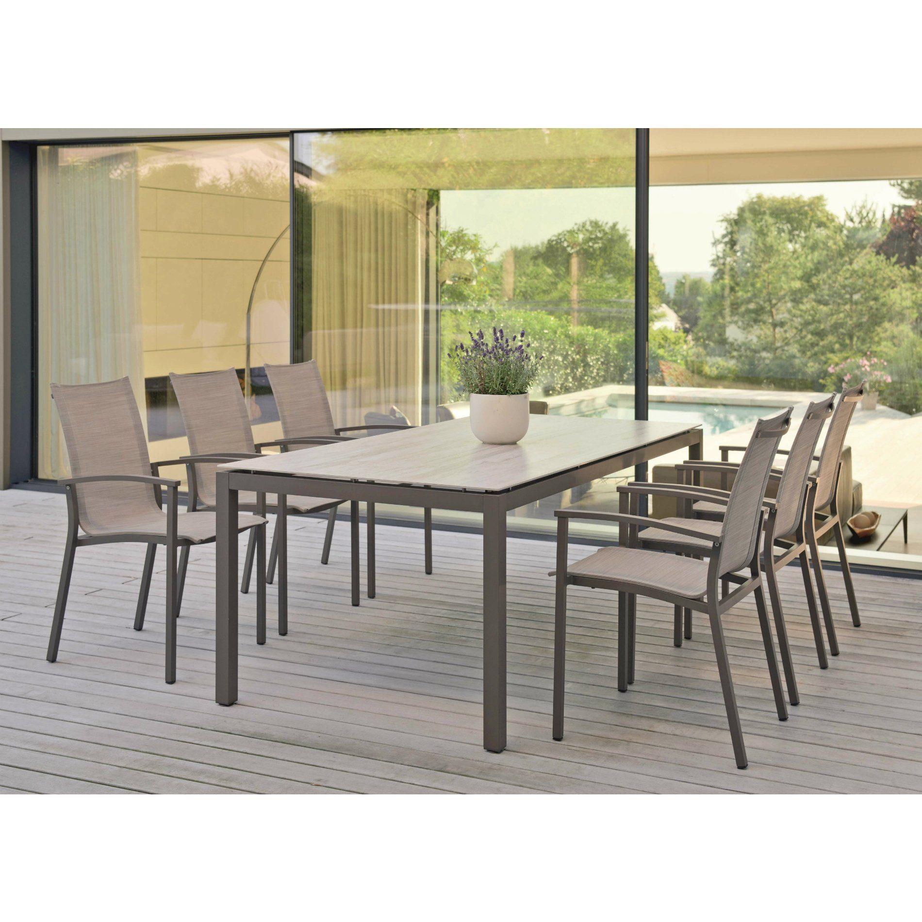 """Stern Gartenmöbel Set mit Stuhl """"Evoee"""" und Gartentisch Aluminium taupe/HPL 7 teilig"""