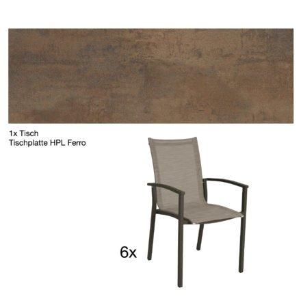 """Stern Gartenmöbel-Set """"Evoee"""", Gestelle Aluminium taupe, Tischplatte HPL Ferro, Sitz- und Rückenfläche Textilgewebe kaschmirfarben"""