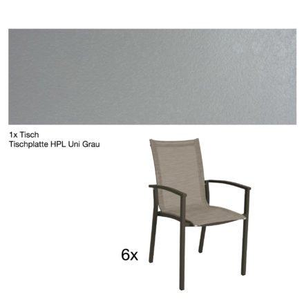 """Stern Gartenmöbel-Set """"Evoee"""", Gestelle Aluminium taupe, Tischplatte HPL Uni Grau, Sitz- und Rückenfläche Textilgewebe kaschmirfarben"""