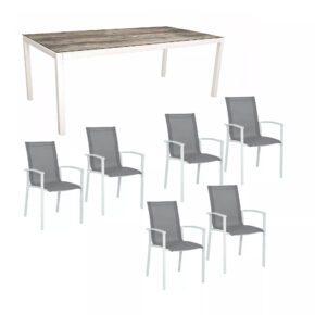 """Stern Gartenmöbel-Set """"Evoee"""", Gestelle Aluminium weiß, Tischplatte HPL Tundra Grau, Sitz- und Rückenfläche Textilgewebe silberfarben"""