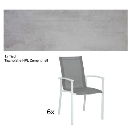 """Stern Gartenmöbel-Set """"Evoee"""", Gestelle Aluminium weiß, Tischplatte HPL Zement hell, Sitz- und Rückenfläche Textilgewebe silberfarben"""