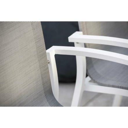 "Stern Gartenstuhl ""Evoee"", Gestell Aluminium weiß, Sitzfläche Textilgewebe silber, Armlehnen Aluminium weiß"