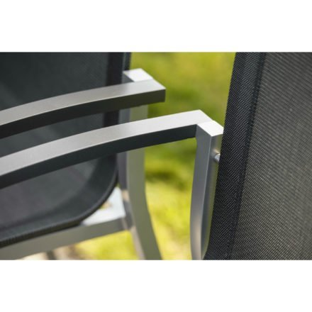 "Stern Gartenstuhl ""Evoee"", Gestell Aluminium graphit, Sitzfläche Textilgewebe silbergrau, Armlehnen Aluminium anthrazit"